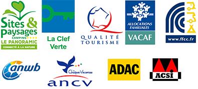 Sites & Paysages + Clef Verte + Qualité tourisme + ACSI + ADAC + ANWB + ANCV + FFCC + VACAF